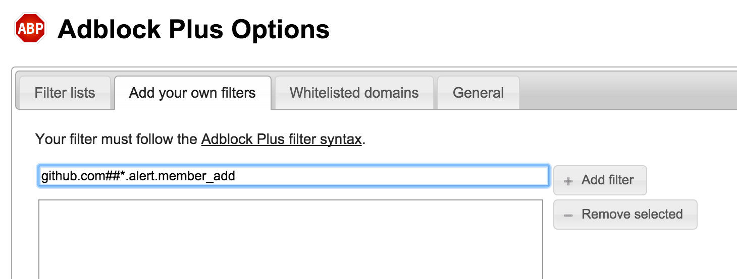 "The ""Add your own filters"" tab of AdBlock Plus's extension settings, showing the string ""github.com##.alert.member_add"" entered in an input box."