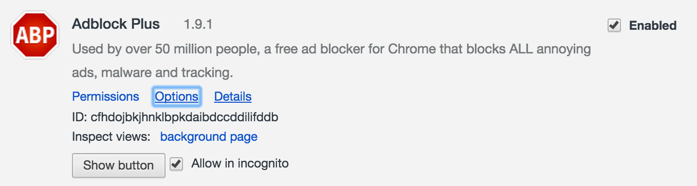 Chrome's extension settings page, showing the options for the AdBlock Plus extension