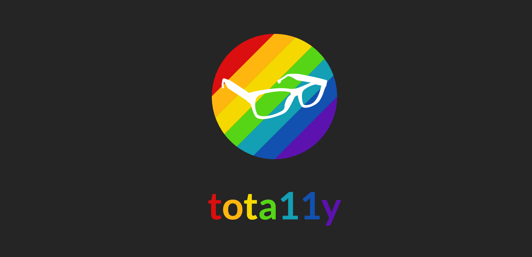 "A sunglasses logo with the text ""tota11y"" beneath it"